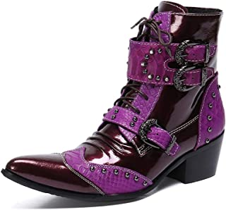 Rui Landed Ankle Boot for Men High Top Boot Lace Up Style Premium Genuine Leather Two Tones Metal Monk Strap Wingtip Pointed Toe High Heel (Color : Red Purple, Size : 13 M US)