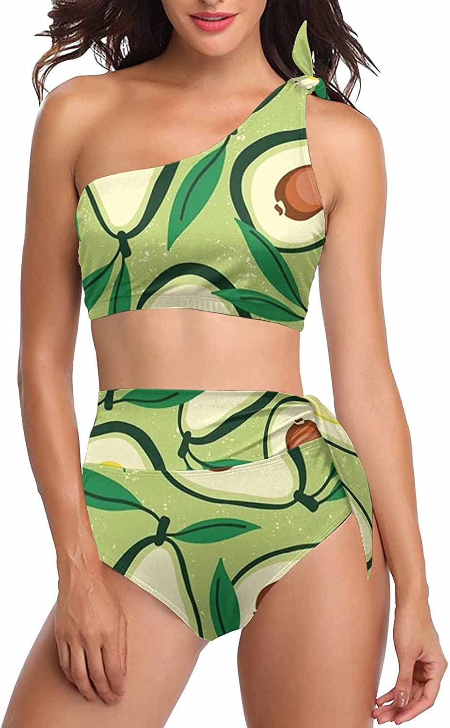 InterestPrint Pink Flamingos Jungle Leaves Women's Crop Top and High Waisted Bottom Swimwear Bathing Suits