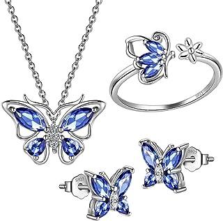 Hipunk 925 Sterling Silver Birthstone Butterfly Jewelry Women Crystal Animal Cute Butterflies Birthday Necklace/Earring/Ri...