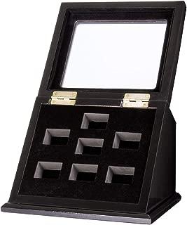 RECHIATO Championship Ring Display Case Sports Ring Storage Box Wooden Black Velvet Lining
