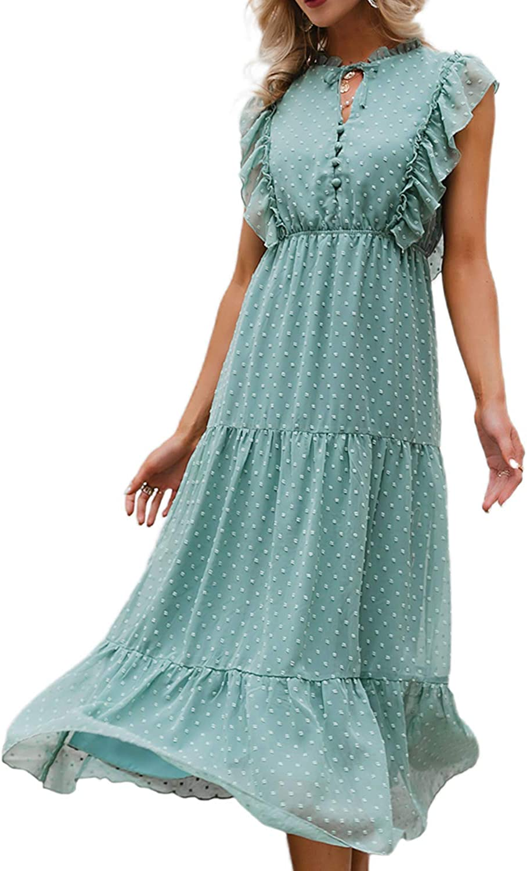 Lovinchic Women's Casual V Neck Maxi Dress Flowy Button Down Long Dress