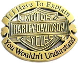 """Spilla in metallo smaltato, finitura in ottone anticato, con simbolo """"Harley Davidson"""""""