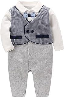 famuka bébé garçon Grenouillères Bodys et Combinaisons Smoking de bébé baptême Mariage vêtements
