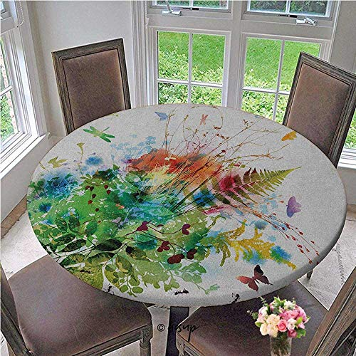 ThinkingPower Elastic Tablecloth Floral Jungle Foliage Summer Design Butterfly Dragonfly Herbs Fresh Leafage Fitted Round Elastic Edge Tablecloth Table Cover Diameter - 39 Inch