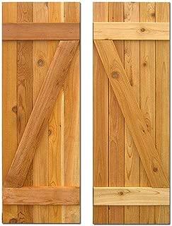 Design Craft MIllworks 15 in. x 60 in. Board-N-Batten Baton Z Shutters Pair Natural Cedar