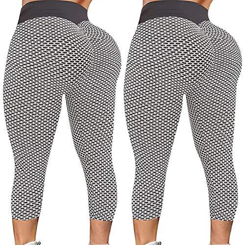 TYTUOO Leggings de yoga para mujer, elásticos, pantalones de fitness, pantalones deportivos, cintura alta, recortados, color puro, sin costuras, 2 unidades