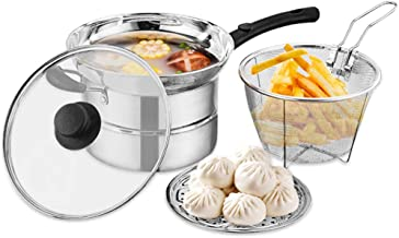 Deep Fryer Chip Pan Stainless Steel Induction-Safe Steamer Milk Pot with Fryer Basket and Lid Large Kitchen Supplies(Silver)