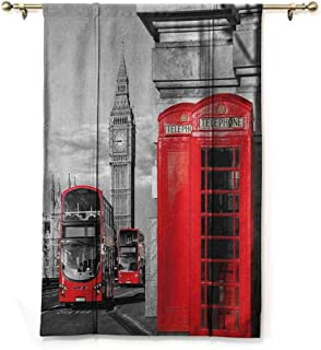 Tie Up Valance Curtains London,London Telephone Booth in The Street Traditional Local Cultural Icon England UK Retro, Red Grey,28