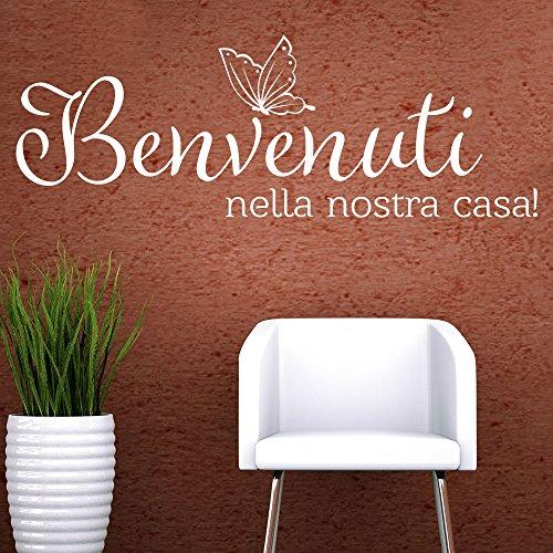 KLEBEHELD® Wandtattoo Benvenuti nella nostra casa | italienischer Spruch | Flur Größe 80x28cm, Farbe schwarz