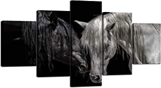 Yatsen Bridge Modern Black and White Horses Wall Art Tree 5 Pieces Artwork Framed Giclee Canvas Prints for Living Room Animals Picture for Home Decor Ready to Hang(60''W x 32''H)