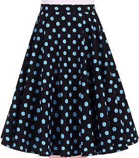 Women's 50s Vintage Inspiration Polka Dot Floral Rockabilly Full Swing Skirt