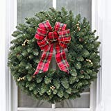 BrylaneHome Christmas Large Pre-Lit Double-Sided Wreath, Green