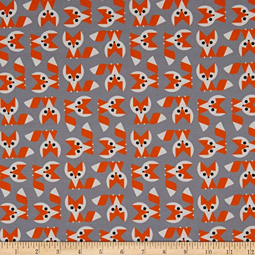 Cloud9 s Organic Ed Emberley Favorites Foxes GreyFabric by the Yard