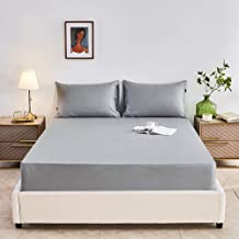 Fits Mattress Perfectly,Cotton Solid Color Sheets,Single and Double King-Size Protective Cover for Apartment Bedroom-Gray_...