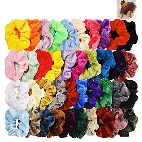 Voarge Haarband, 45 stuks haarelastiekjes voor meisjes en meisjes, elastisch, fluweelzacht haarbandje van elastisch, bonte haarbanden voor dames
