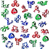 Ganowo 30 Pack Party Favor, Fidget Snake Cube Twist Puzzle Toys for Kids Teens Stocking Stuffers Bulk Birthday Party Supplies Goodie Bags Fillers, Random Colors