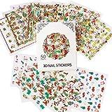 Nicedeco Navidad 50 Hojas ( Más de 1500pcs ) 3D Nail Art Stickers Calcomanías para Navidad y Año Nuevo Tema Nail Art Decoration