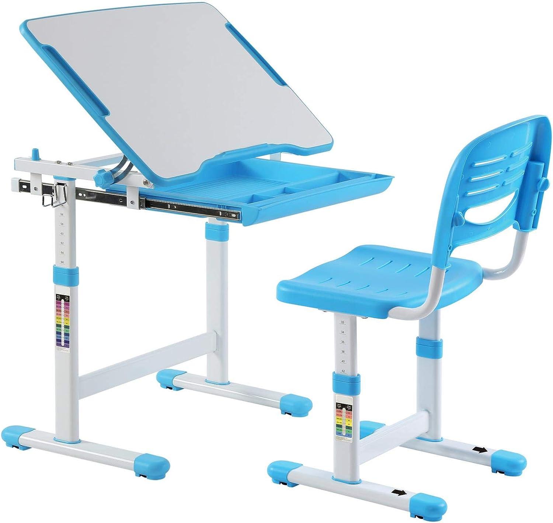 IDIMEX Kinderschreibtisch ALUMNO mit Stuhl und Schublade, Schreibtisch für Kinder und Schüler Schülerschreibtisch Set, hhenverstellbar, inklusive Stuhl, blau