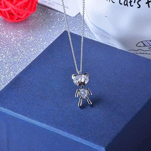NC188 Collar Lindo Collar de Oso Atado Alrededor de Cien nuevos Colgantes de Cadena de clavícula de niña de circón en Miniatura