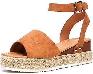 33127082 Sandalias Cuña Mujer Verano Plataformas Chanclas Correa de Tobillo Sandalias  Punta Abierta Zapatos Marrón Leopardo Gris