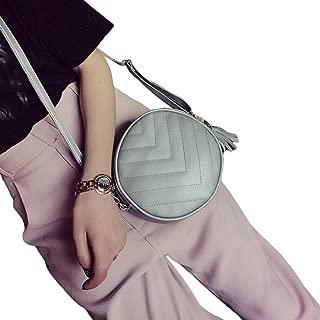 Docooler Women Quilted Crossbody Bag Tassel PU Leather Shoulder Messenger Bag Tote Handbag Black/Green/Grey