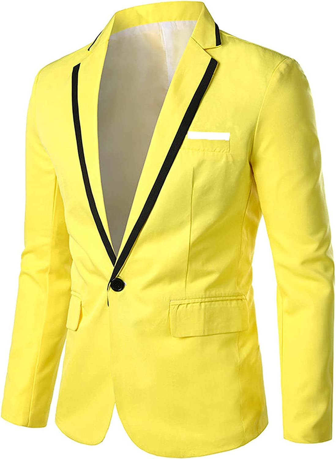 BUYYA Men's One-Button Slim Fit Blazer, Daily Casual Sports Jacket, Business Solid Color Top. Yellow