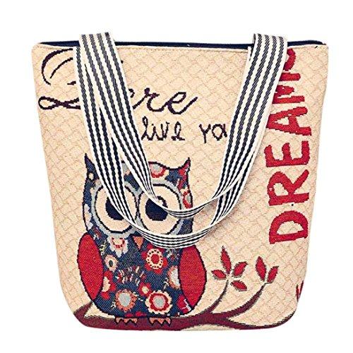 Unisex Handtasche, Sunday Frauen Segeltuch Karikatur Handtaschen Schulter Bote Tasche Damen Schultaschen Taschen Segeltuchtaschen (33cm(L)*10cm(W)*32cm(H), E)