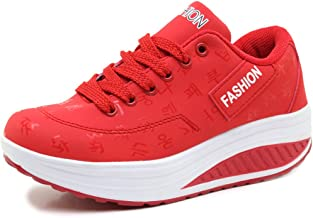 Orlancy Women's Fashion Leather Platform Lace-up Sneakers Walking Shoes Fitness Sports Shoes
