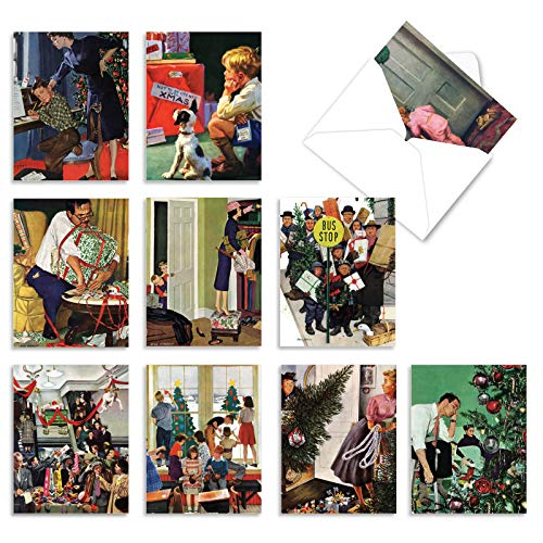 The Best Card Company - 10 Retro Merry Christmas Cards Bulk - Vintage Holiday Notecards with Envelopes (4 x 5.12 Inch) - Home for the Holidays M6058