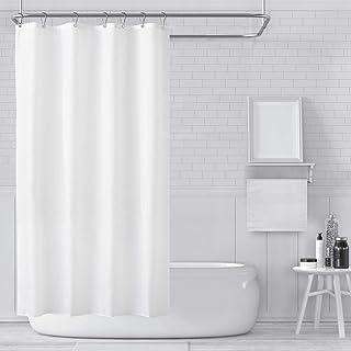 Carttiya Rideau de Douche, Rideaux de Douche Blanc en Tissu Impermeable et Anti-moisissure, Lavable en Machine, avec 8 Cro...