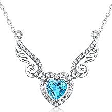 HXZZ Fine Jewelry Women Gifts 925 Sterling Silver Natural Gemstone Swiss Blue Topaz Amethyst Peridot Love Heart Angel Wings Pendant Necklace
