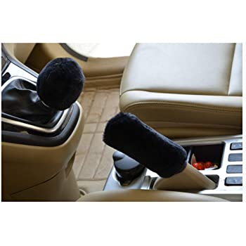 Uphily Black Fluffy Auto Car Gear Shift Knob Cover /& Fuzzy Furry Handbrake Cover Protector Bundle Set for Women Girls