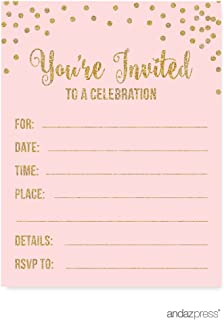 Best first birthday invitations pink and gold Reviews