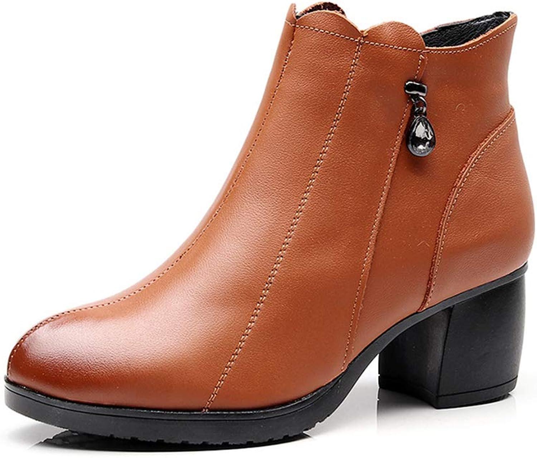 F1rst Rate Women's Chunky Heel Ankle Booties Ladies Winter Dress Boots Zipper Booties