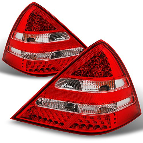 For Mercedes Benz R170 SLK Class Red Clear Rear LED Tail Lights Brake Lamps Replacement Left + Right