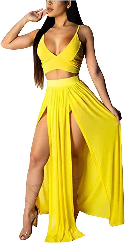 Women Suits Sets, Women Solid Sexy Backless 2 Piece Sets Crop Cami Top & Split Maxi Dress