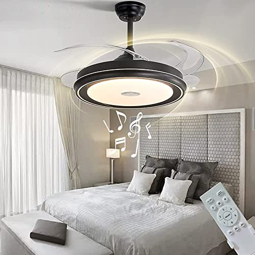 new arrival LCiWZ Invisible Ceiling Fan with Lights,42in Smart Bluetooth Music Ceiling Fan wholesale with Remote Control,3 Colors(Warm,Medium,White),72W Reversible sale Telescopic Blade,Timing,6Files,For Living room,restaurant online sale