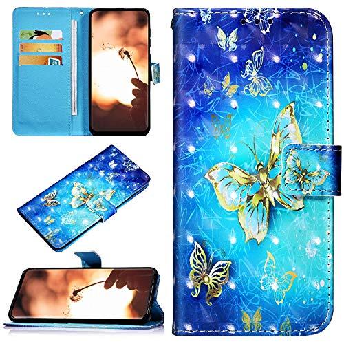 Robinsoni Sony Xperia L3 Housse de téléphone Coque à Rabat Etui en Cuir PU Portefeuille,Brillant Glitter 3D Motif Couleur Pochette Folio Flip Stand Coque pour Sony Xperia L3,Papillon Or