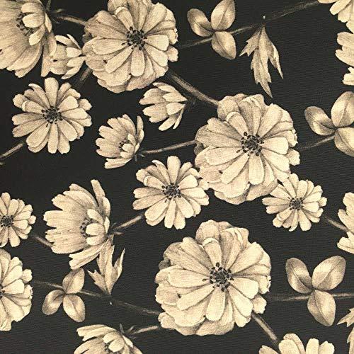 Tela por metros de loneta estampada digital - Half Panamá 100% algodón - Ancho 280 cm - Largo a elección de 50 en 50 cm | Flores - Negro, beige