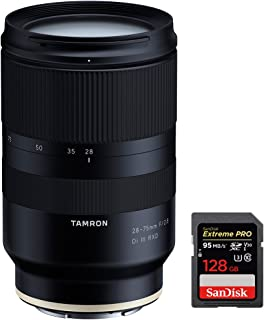 Tamron 28-75mm F/2.8 Di III RXD Full Frame E-mount Lens for Sony Mirrorles (A036) with Sandisk Extreme PRO SDXC 128GB UHS-1 Memory Card