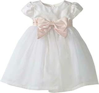 Girls' Fairest of All Ballerina Silk Special Occasion Dress, White & Pink, 6