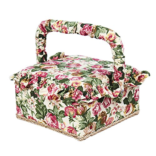 MADKING Vintage Sewing Basket with Accessories Square Shaped Household Organizer Box for Home Storage