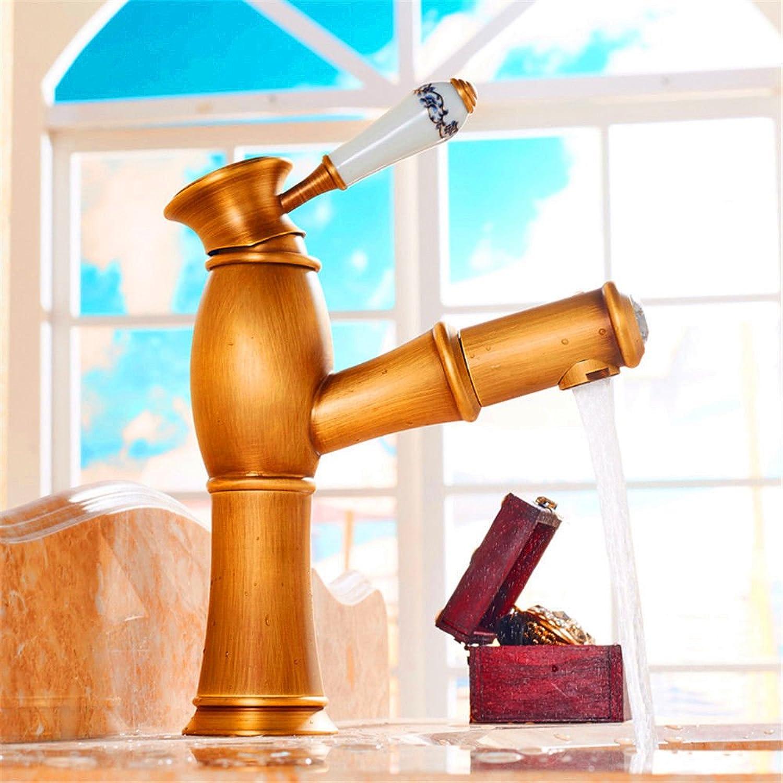 ETERNAL QUALITY Bad Waschbecken Wasserhahn Küche Waschbecken Wasserhahn Voller Kupfer Retro Heier Und Kalter Single Hole High Pull Waschtischmischer BQ1551ca