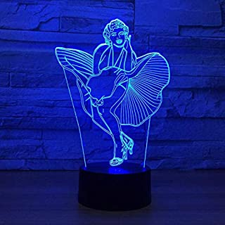 xcdfr 3D Night Light LED Table lamp Illusion lamp Beautiful and Sexy Girl Magical Woman Marilyn Monroe 7 Color led Touch led USB Table Lampe