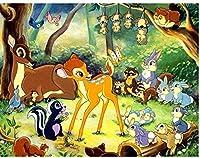 大人と子供のための大人のための数字で描くDIY油絵キット初心者-子鹿のリスの動物キットキャンバスにアクリル壁の装飾40x50cmフレームレス