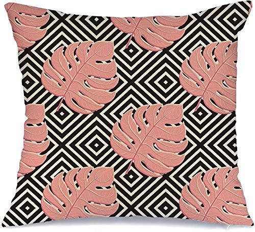 Funda de Cojine Throw CojínArte floral Verano Color Estilo Trópico Exótico Azulejo rojo Selva Planta Naturaleza Diseño África Belleza Fundas para almohada 45X45CM