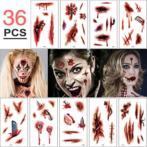 Hook Halloween Tattoo Narben, Halloween Schminke Set Wunde 【6 Große + 30 Kleine Stück, 300 Muster】 Zombie Make Up Gesicht , Temporäre Tattoos, Gefälschte Halloween Wunden Für Halloween Party