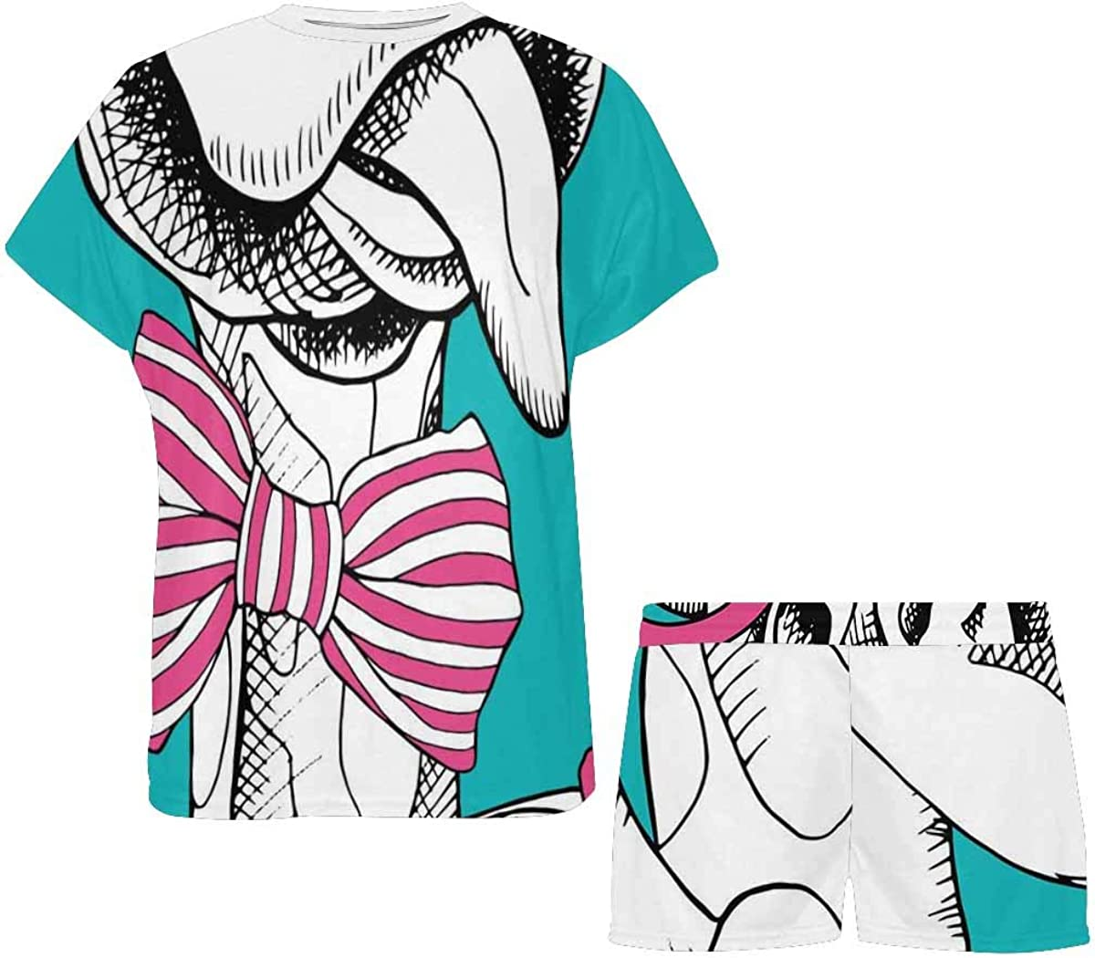 INTERESTPRINT Giraffes in Glasses and Bow Women's Pajama Sets Short Sleeve Shorts - Pajamas for Women