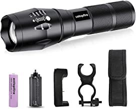 LED Flashlights High Lumens Tactical Flashlight, Zoomable Waterproof Rechargeable Flash Lights, 5 Modes Handheld Light for Camping, Outdoor, Hiking and Emergency(18650 Battery and Charger)