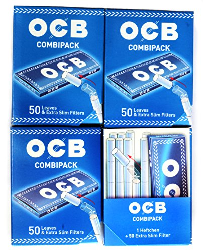 4 x OCB Combipack = 200 Papers + 200 Extra Slim Filter Tips